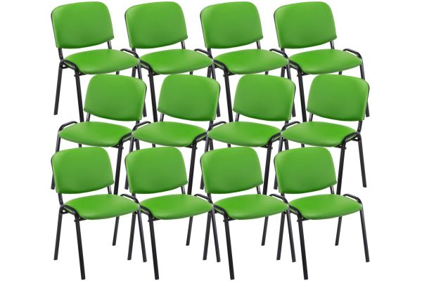 12er Set Besucherstuhl Ken Kunstleder grün