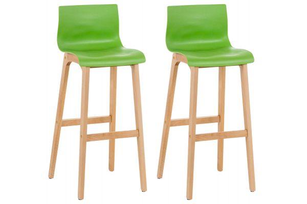 Set 2 sgabelli Hoover con telaio in legno naturale a 4 gambe