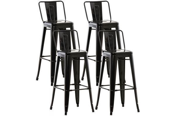 Set 4 Sgabelli Bar In Metallo Mason