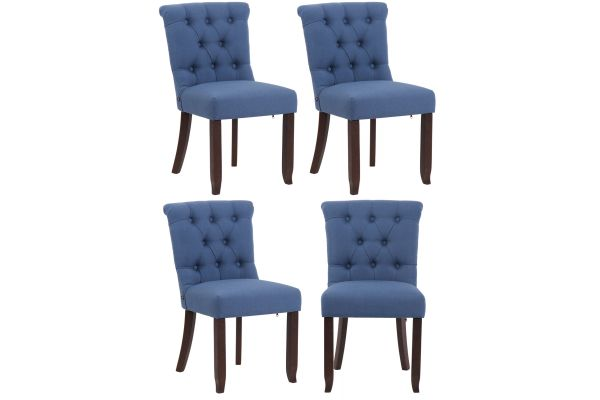 Set 4 sedie Alberton in tessuto e legno di caucciù